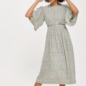 Topshop Mint Floral Cutout Boho Dress